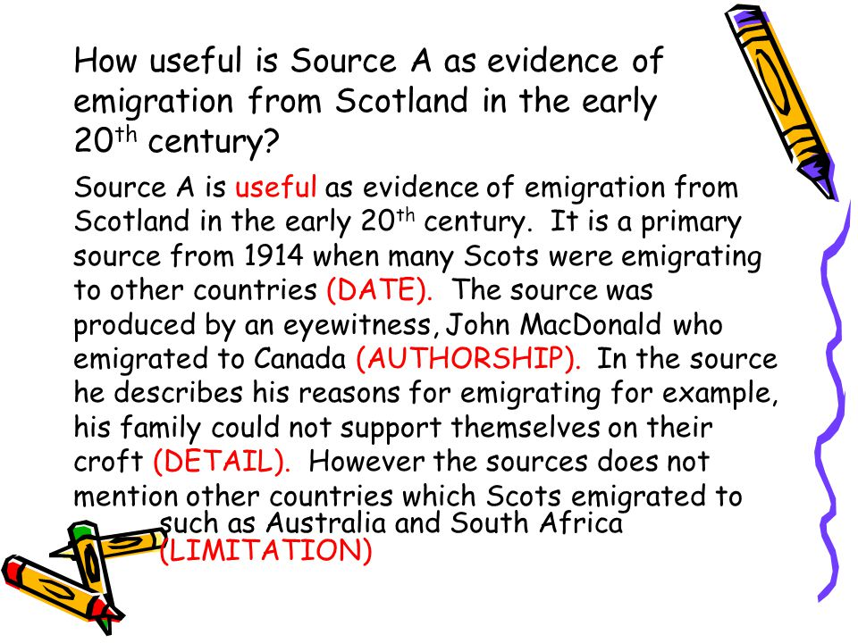 How useful is Source A as evidence of emigration from Scotland in the early 20th century