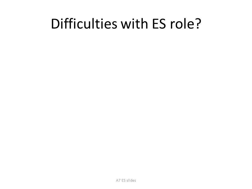 Difficulties with ES role