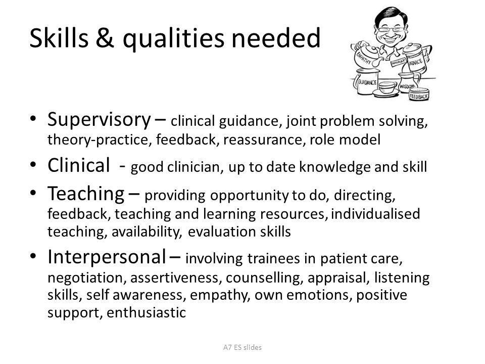 Skills & qualities needed