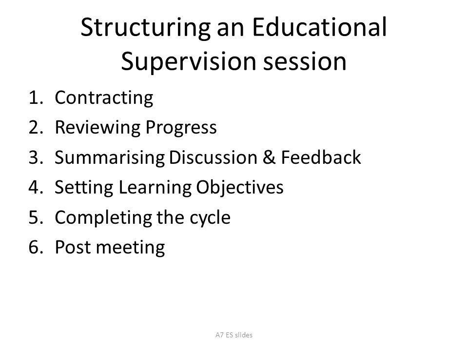 Structuring an Educational Supervision session
