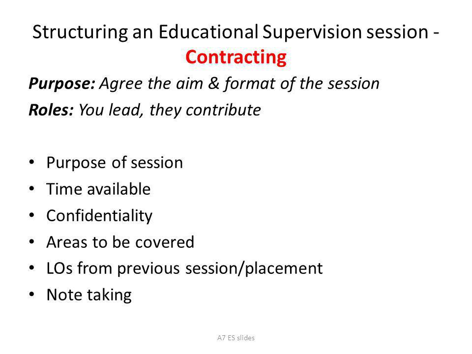 Structuring an Educational Supervision session - Contracting