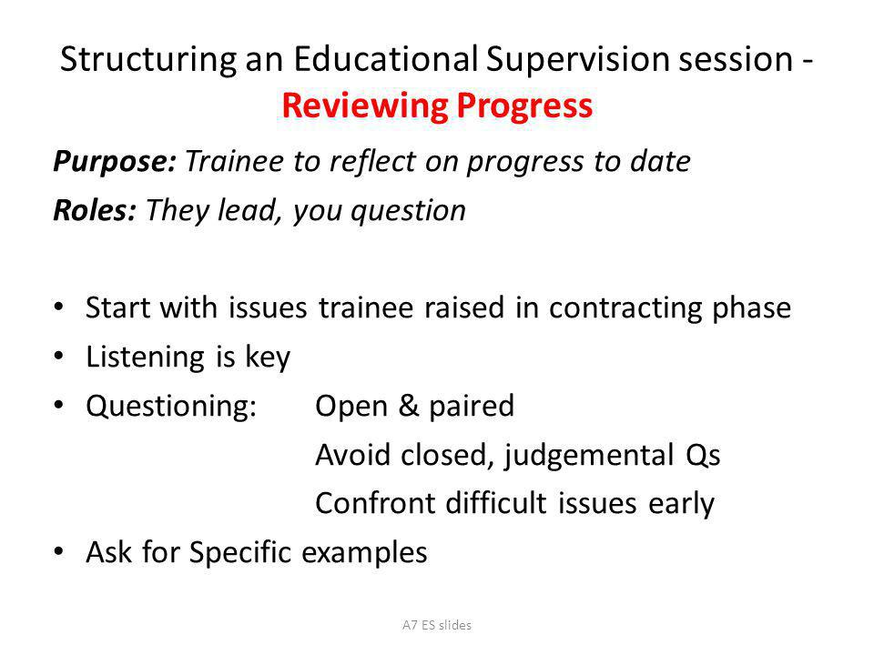 Structuring an Educational Supervision session - Reviewing Progress