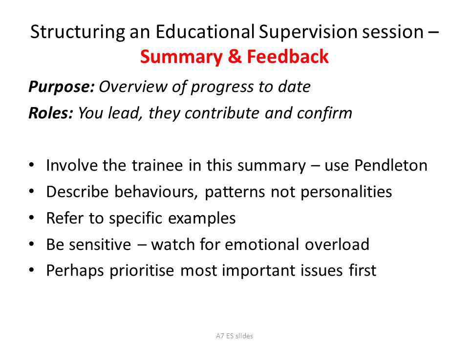 Structuring an Educational Supervision session – Summary & Feedback
