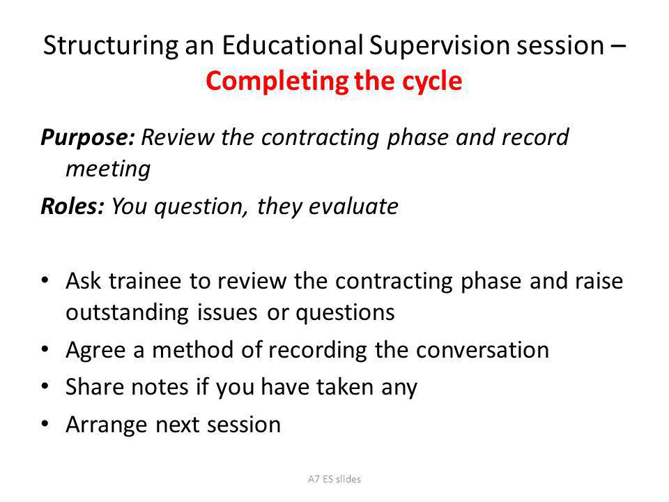 Structuring an Educational Supervision session – Completing the cycle