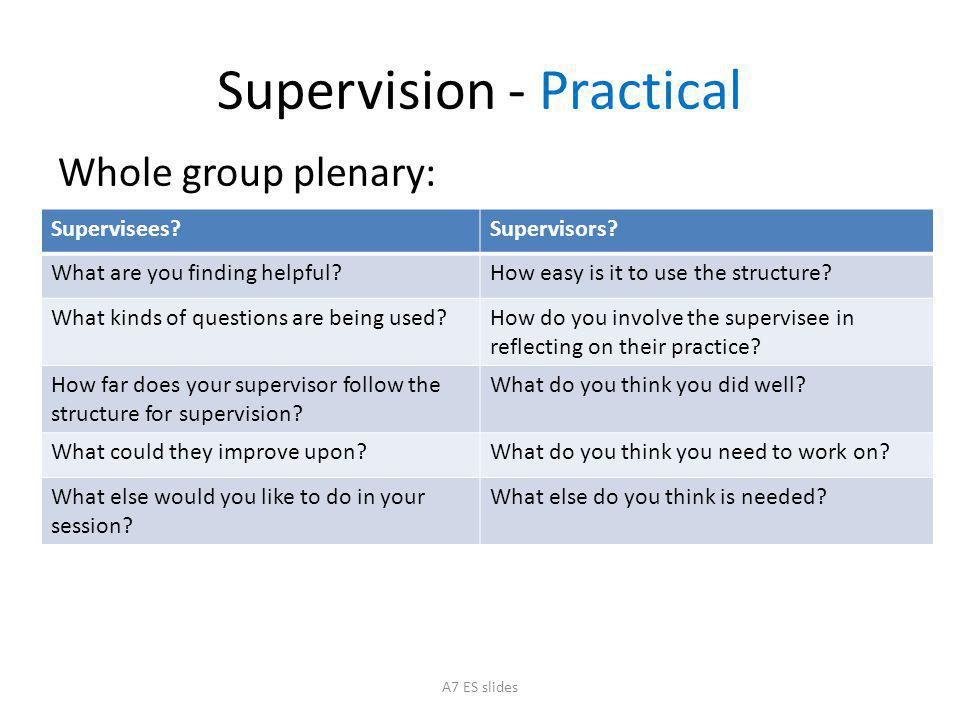 Supervision - Practical