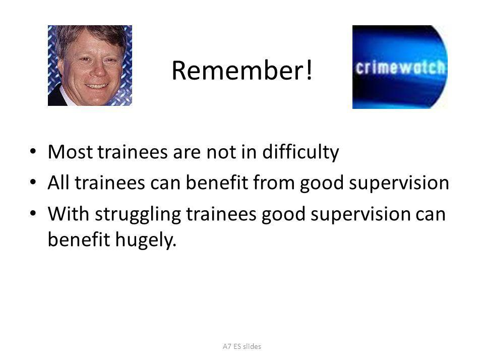 Remember! Most trainees are not in difficulty