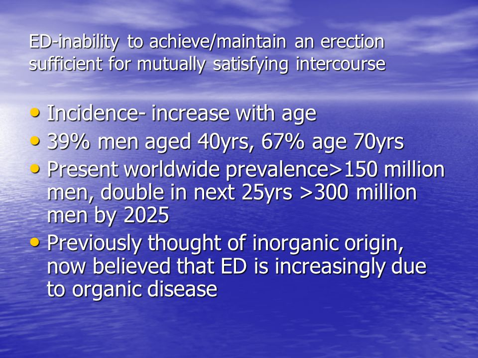 Incidence- increase with age 39% men aged 40yrs, 67% age 70yrs