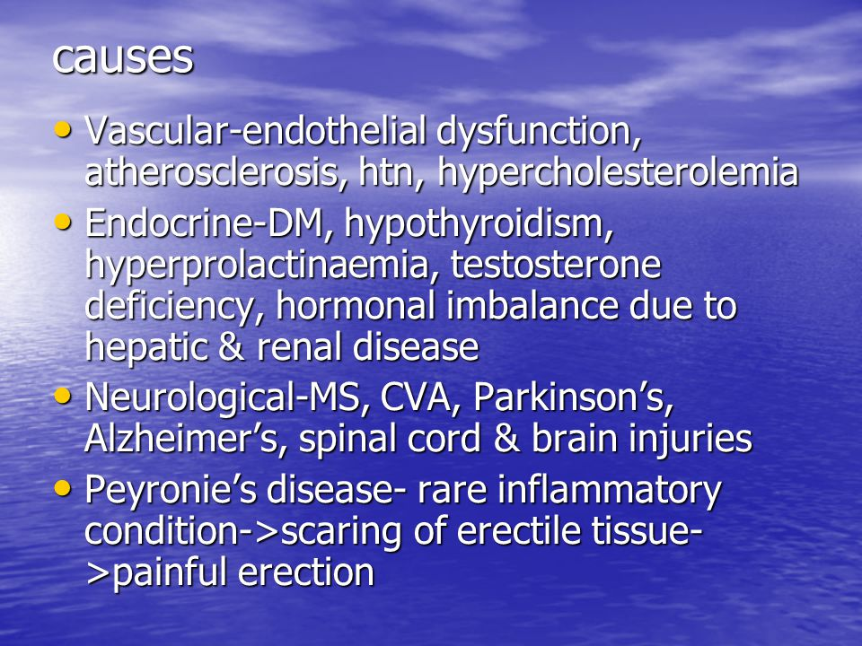 causes Vascular-endothelial dysfunction, atherosclerosis, htn, hypercholesterolemia.