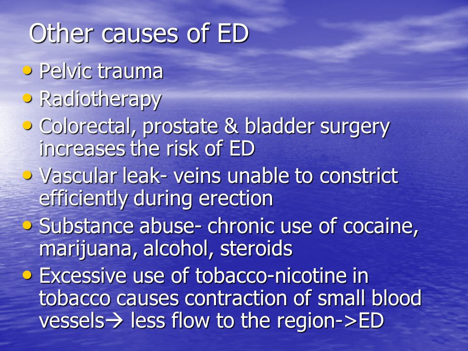 Other causes of ED Pelvic trauma Radiotherapy