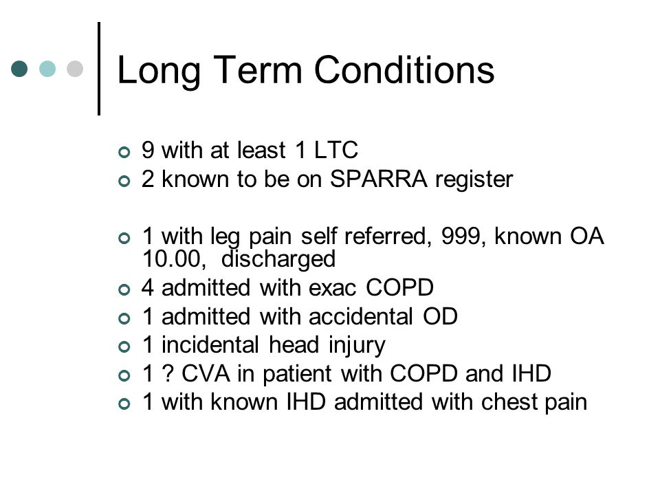 Long Term Conditions 9 with at least 1 LTC