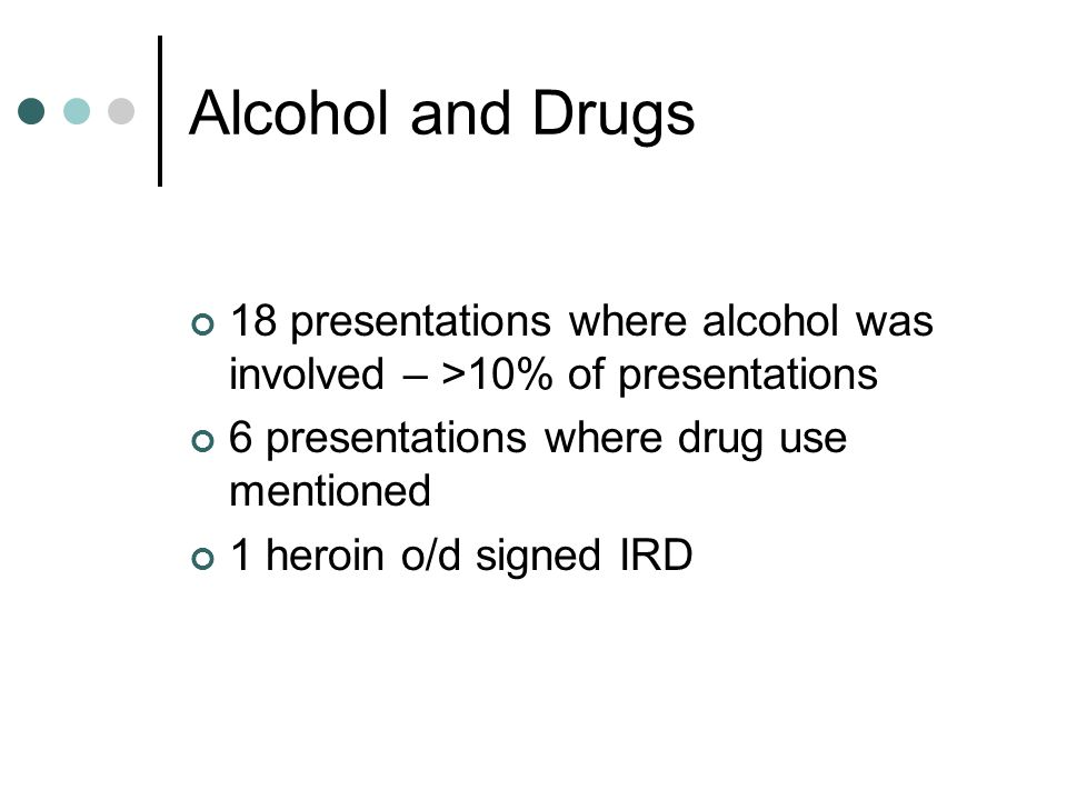 Alcohol and Drugs 18 presentations where alcohol was involved – >10% of presentations. 6 presentations where drug use mentioned.