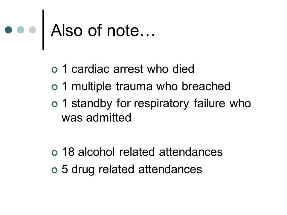 Also of note… 1 cardiac arrest who died 1 multiple trauma who breached
