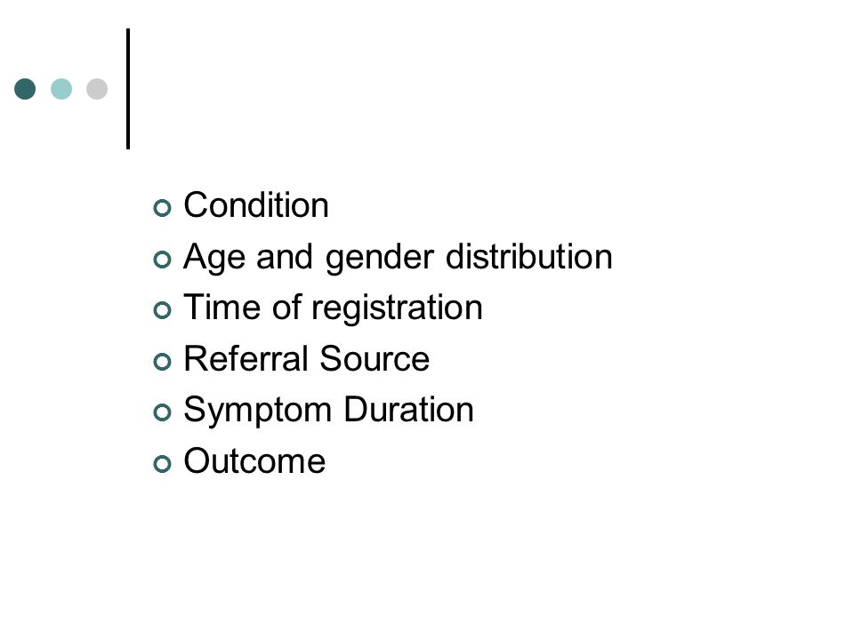 Condition Age and gender distribution Time of registration Referral Source Symptom Duration Outcome