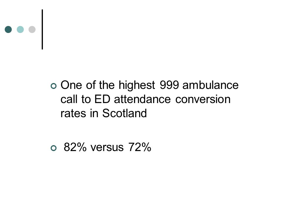 One of the highest 999 ambulance call to ED attendance conversion rates in Scotland