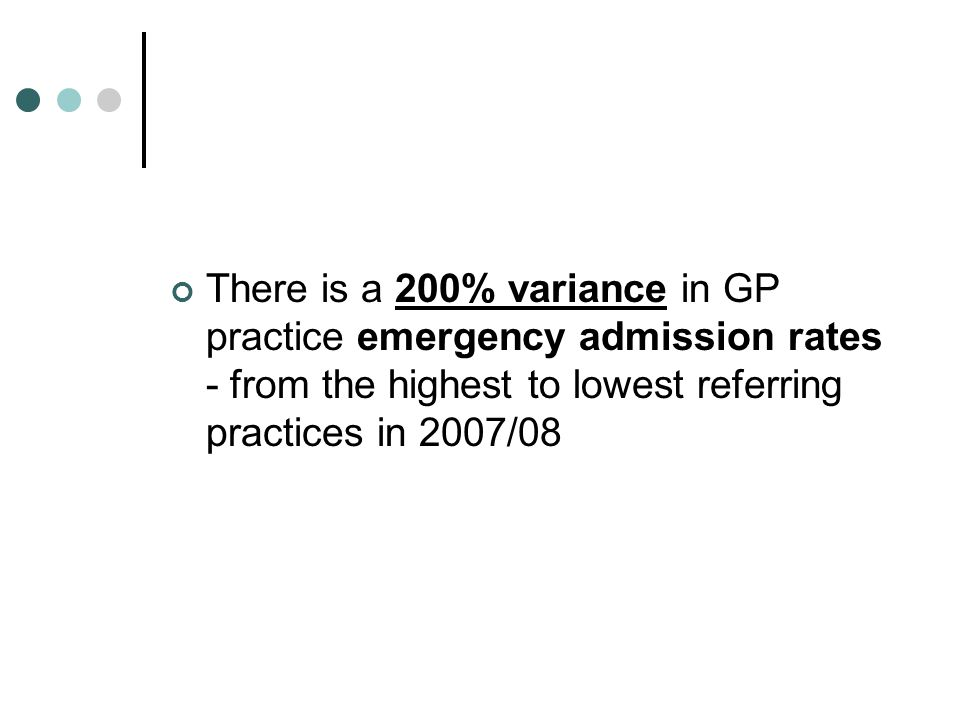 There is a 200% variance in GP practice emergency admission rates - from the highest to lowest referring practices in 2007/08