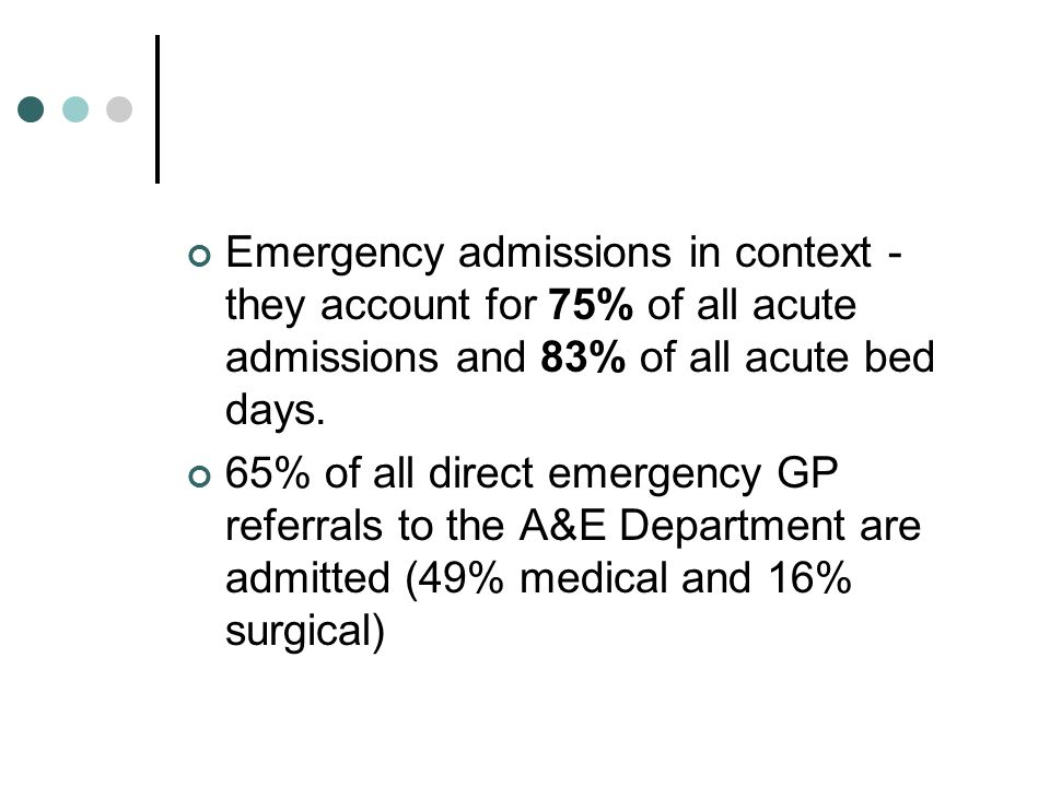 Emergency admissions in context - they account for 75% of all acute admissions and 83% of all acute bed days.