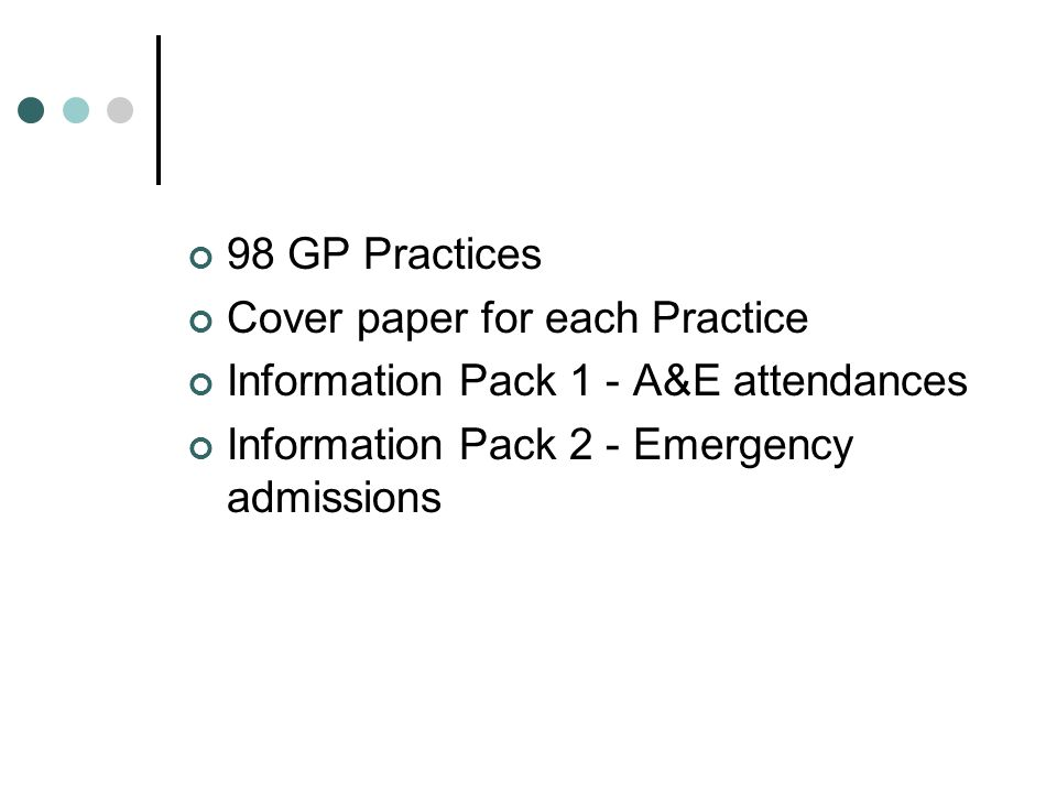 98 GP Practices Cover paper for each Practice. Information Pack 1 - A&E attendances.