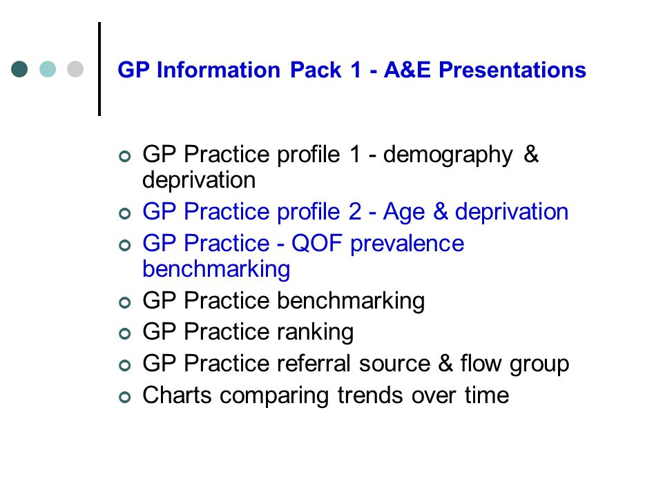GP Information Pack 1 - A&E Presentations