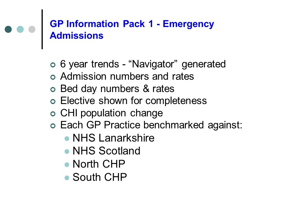 GP Information Pack 1 - Emergency Admissions