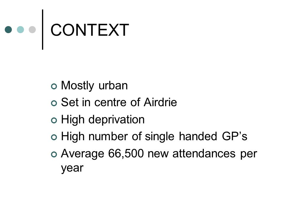 CONTEXT Mostly urban Set in centre of Airdrie High deprivation
