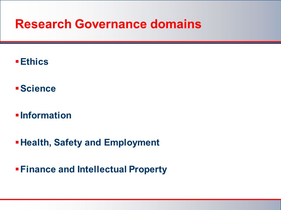 Research Governance domains
