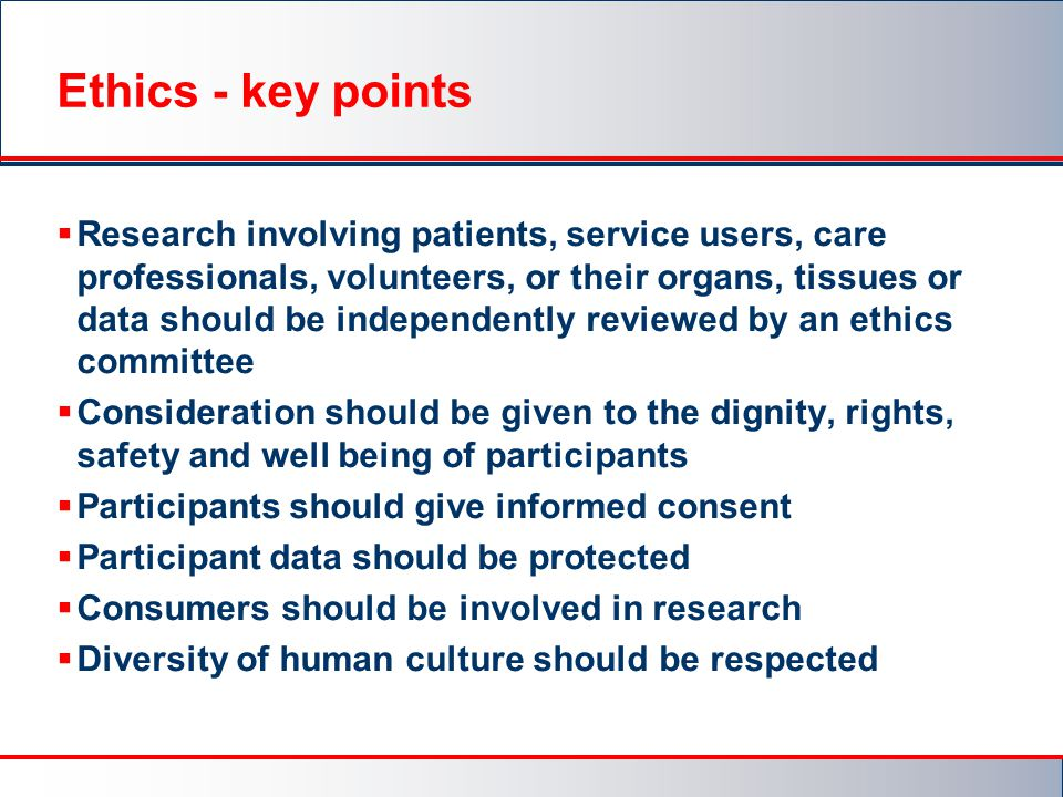 Ethics - key points