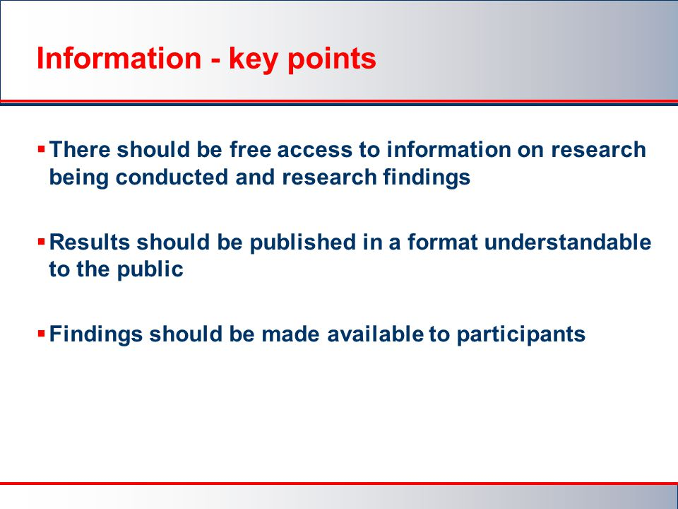 Information - key points
