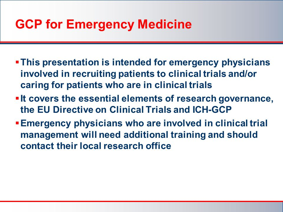 GCP for Emergency Medicine