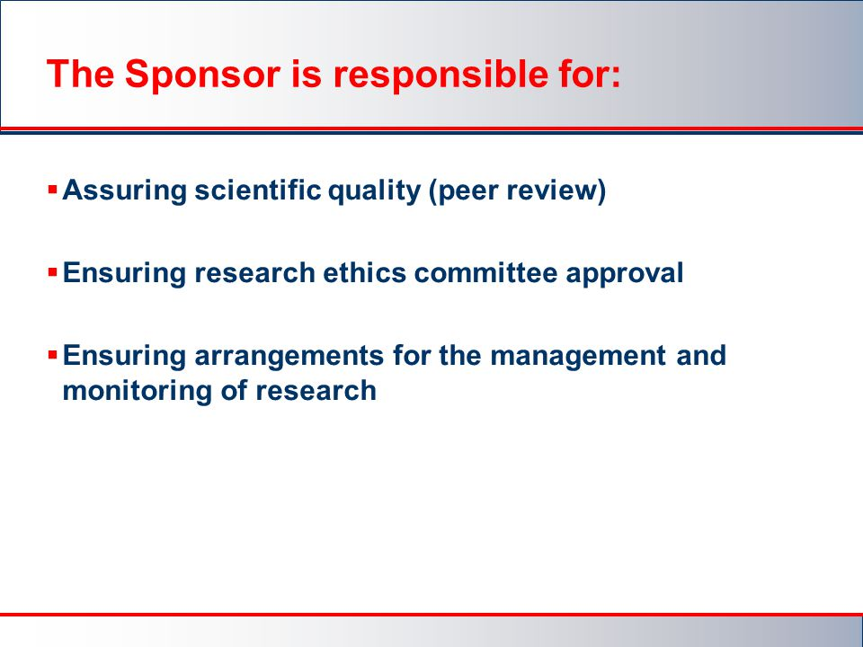 The Sponsor is responsible for: