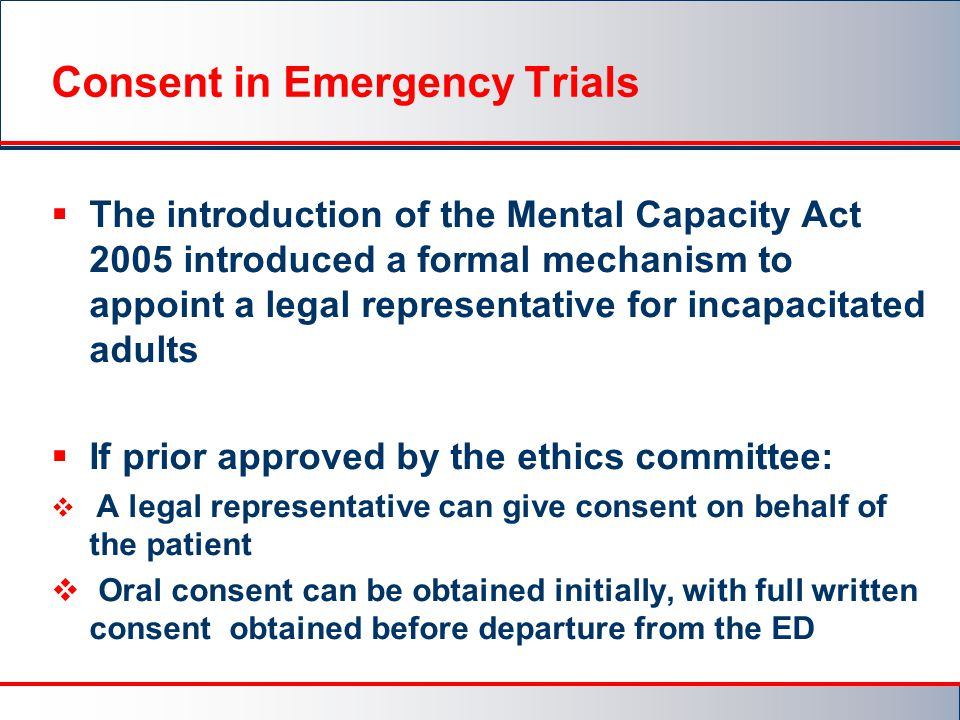 Consent in Emergency Trials