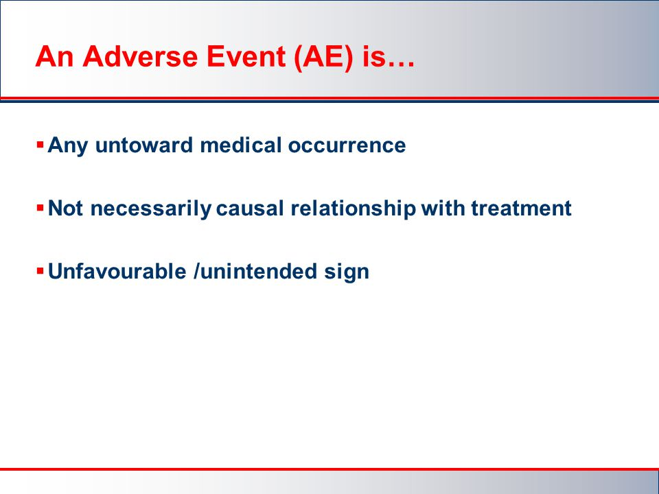 An Adverse Event (AE) is…