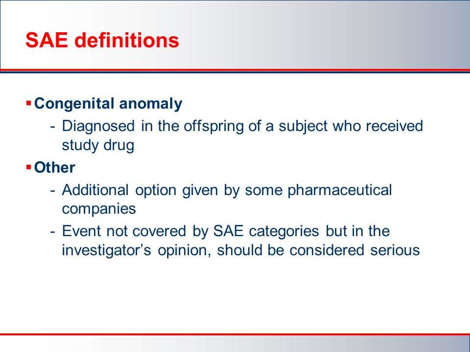 SAE definitions Congenital anomaly