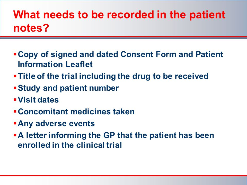 What needs to be recorded in the patient notes