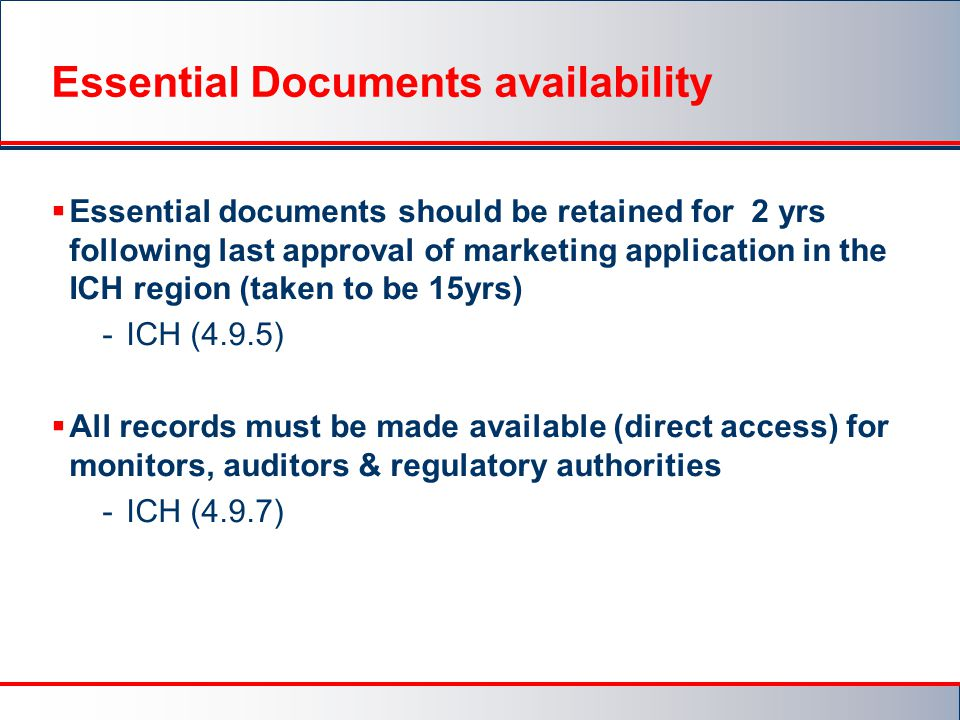 Essential Documents availability