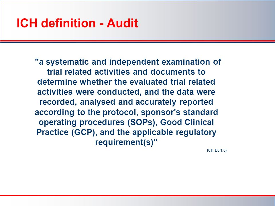 ICH definition - Audit