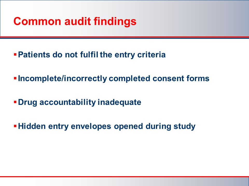 Common audit findings Patients do not fulfil the entry criteria