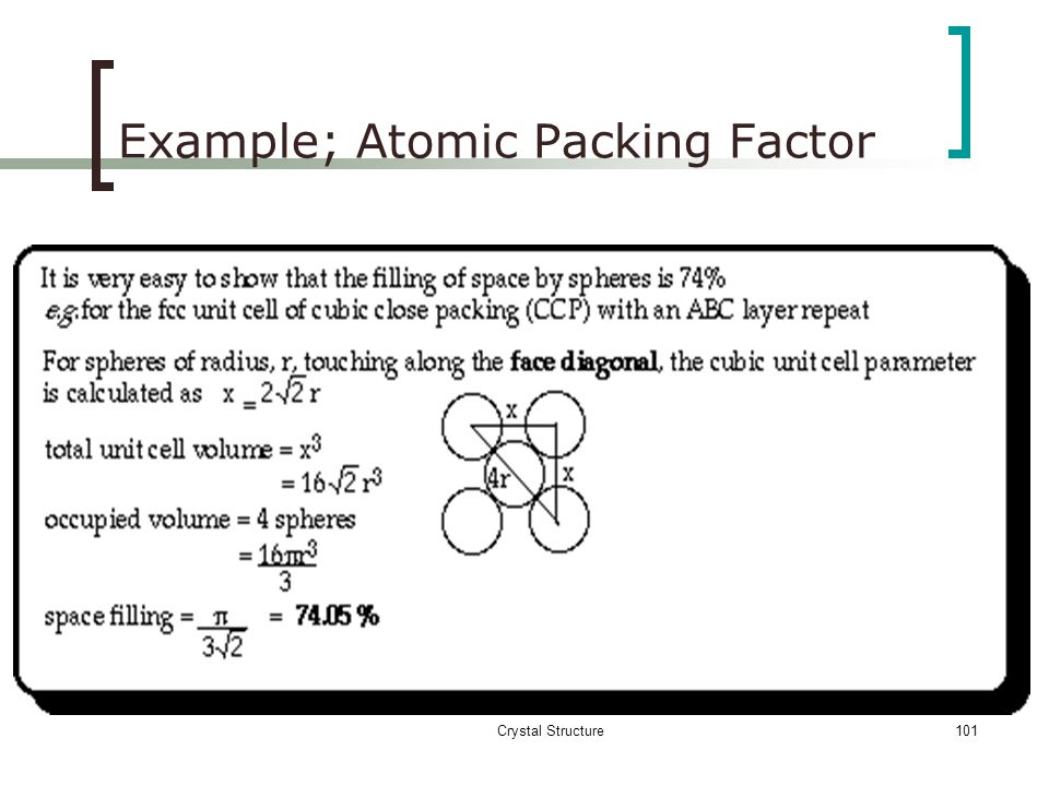 Example; Atomic Packing Factor