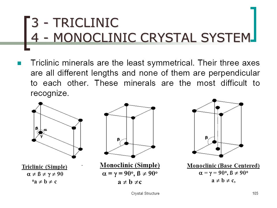 3 - TRICLINIC 4 - MONOCLINIC CRYSTAL SYSTEM