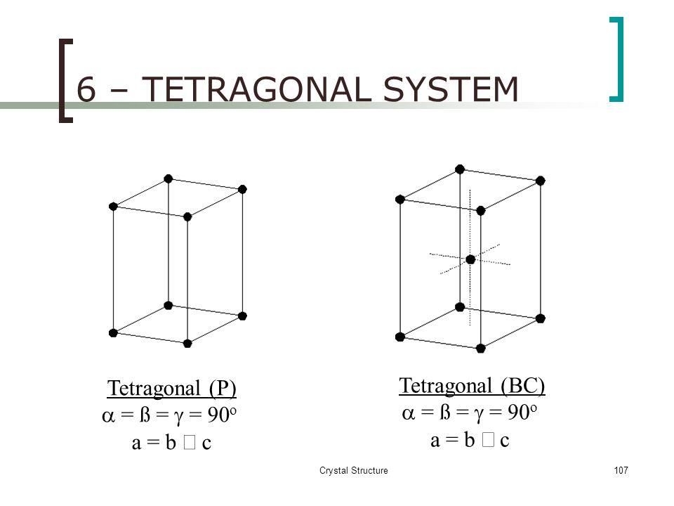 6 – TETRAGONAL SYSTEM Tetragonal (BC) a = ß = g = 90o