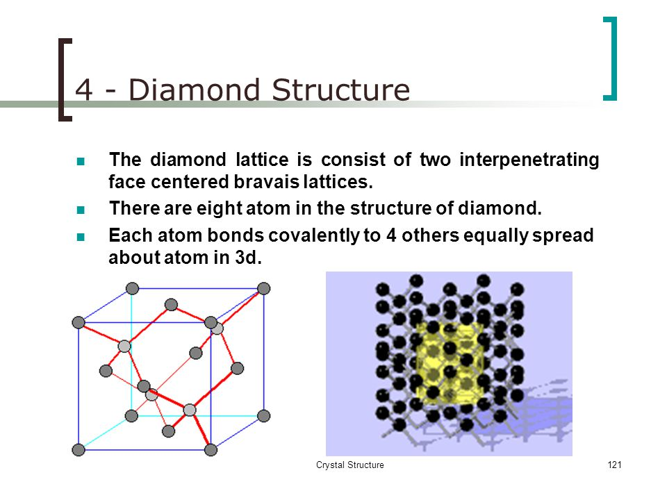 4 - Diamond Structure The diamond lattice is consist of two interpenetrating face centered bravais lattices.