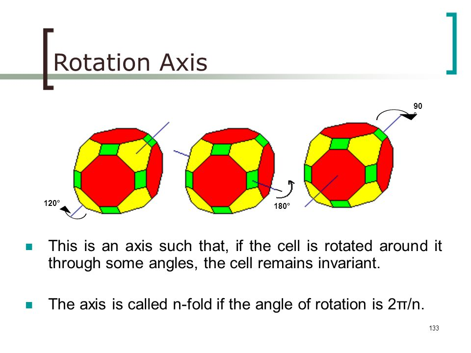 Rotation Axis 90° 120° 180° This is an axis such that, if the cell is rotated around it through some angles, the cell remains invariant.
