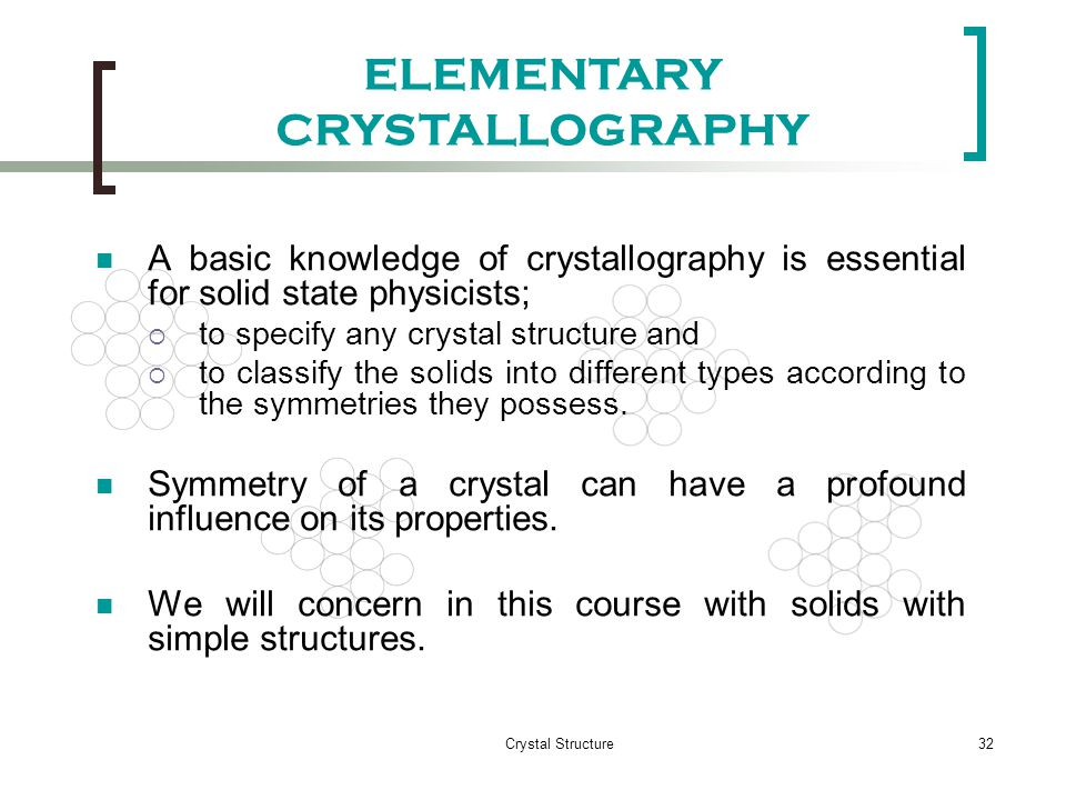 ELEMENTARY CRYSTALLOGRAPHY