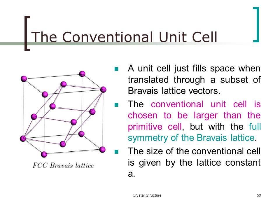 The Conventional Unit Cell