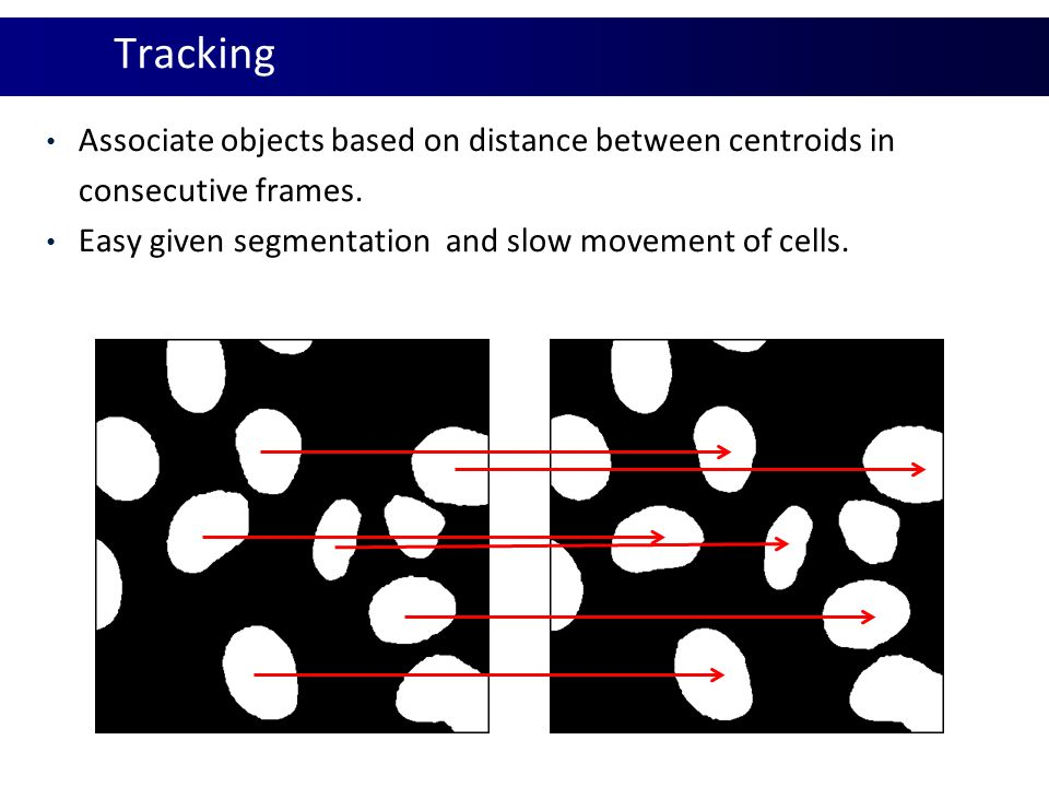 Tracking Associate objects based on distance between centroids in consecutive frames.
