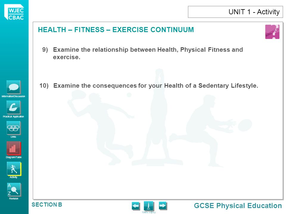 UNIT 1 - Activity Examine the relationship between Health, Physical Fitness and exercise.
