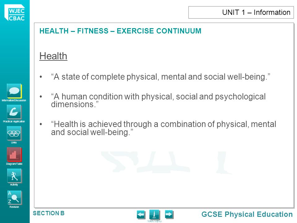 Health A state of complete physical, mental and social well-being.