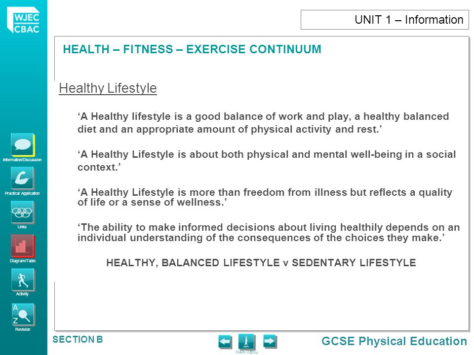 HEALTHY, BALANCED LIFESTYLE v SEDENTARY LIFESTYLE