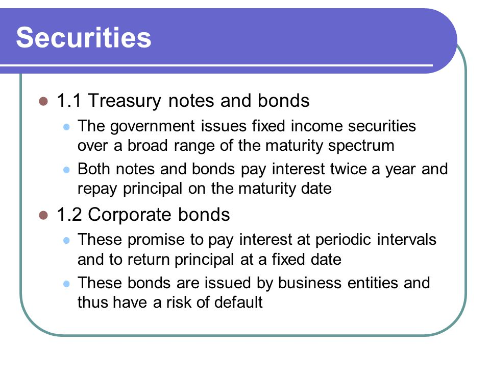 Securities 1.1 Treasury notes and bonds 1.2 Corporate bonds