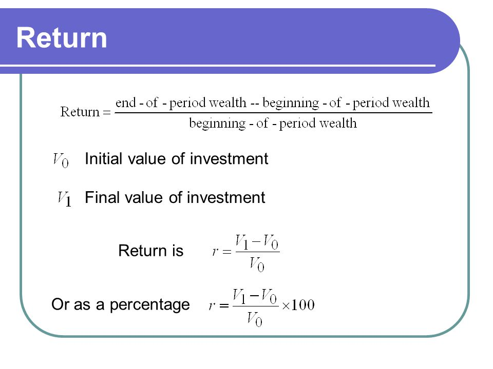 Return Initial value of investment Final value of investment Return is