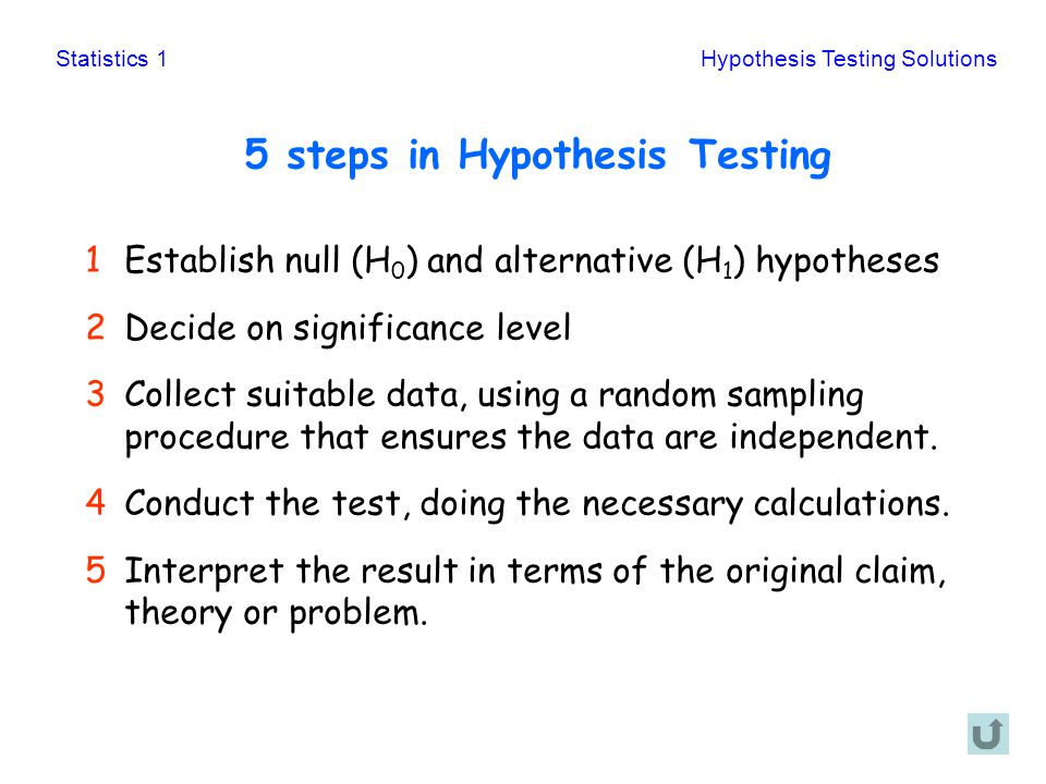 5 steps in Hypothesis Testing